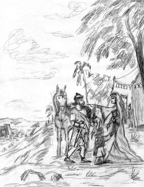 Жена отправляет мужа обратно в бой. В лагере евреев